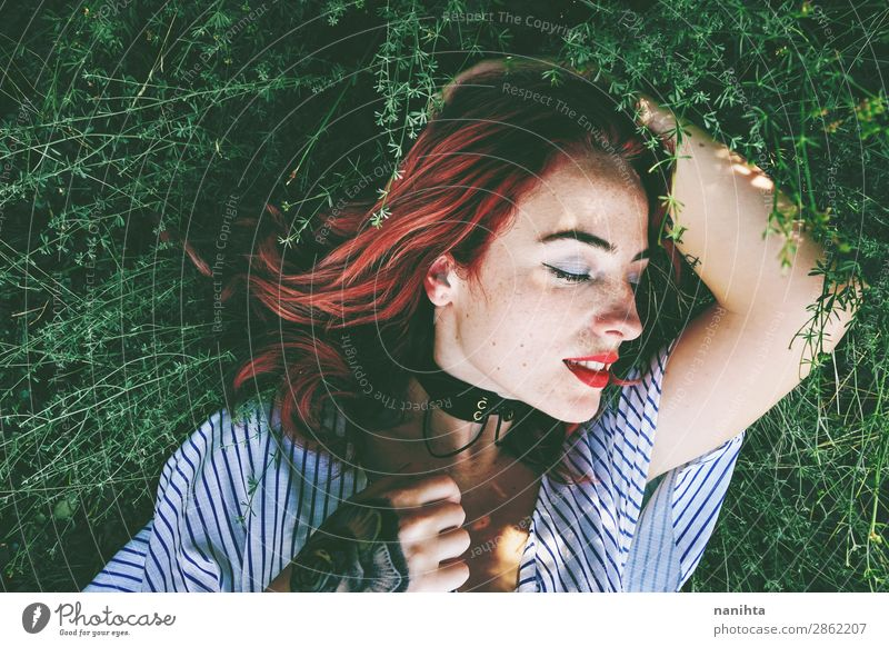 Young and beautiful redhead woman Woman Human being Nature Youth (Young adults) Young woman Summer Plant Beautiful Green Relaxation Calm Forest Healthy