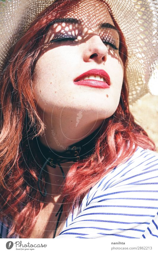Redhead model protecting herself from sun Woman Human being Vacation & Travel Youth (Young adults) Young woman Summer Beautiful Sun Relaxation Healthy