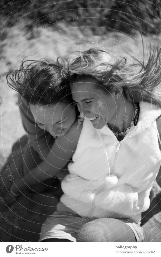 Human being Woman Youth (Young adults) Joy Beach Adults Young woman Life Feminine Laughter Hair and hairstyles Happy Coast 18 - 30 years Friendship Together