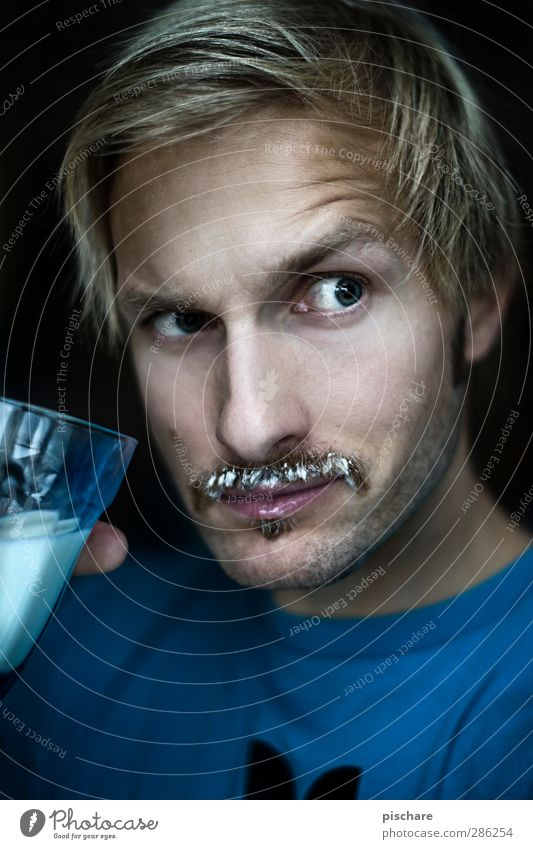 Happy Movember! Dairy Products Nutrition Drinking Milk Face Healthy Masculine Man Adults 30 - 45 years Blonde Moustache Looking Cool (slang) Funny
