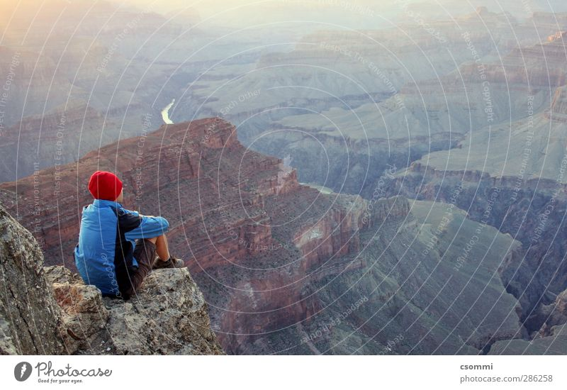 madrugada Far-off places Freedom Calm Loneliness Uniqueness Horizon Identity Vacation & Travel Dream Simple Grand Canyon Ledge Meditative Romance Vantage point