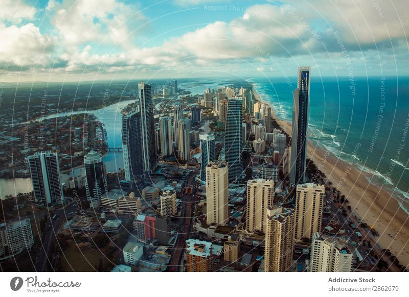 Modern city with skyscrapers City High-rise Architecture Business Skyline Town Aircraft drone view Downtown Building Street Landmark Vantage point Landscape
