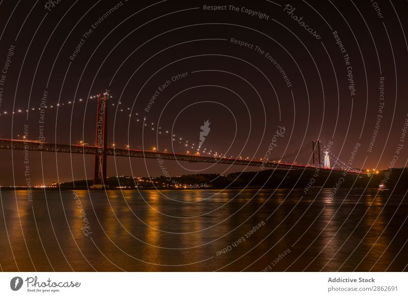 River and big illuminated bridge Bridge Golden Gate Bridge Night Architecture Ocean Bay Landmark City Vacation & Travel USA San Francisco California