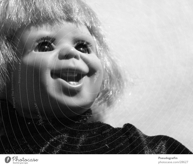 my name is chucky Playing Children's game Wig Doll Laughter Crazy Black & white photo Interior shot Deserted Neutral Background Artificial light Light Shadow