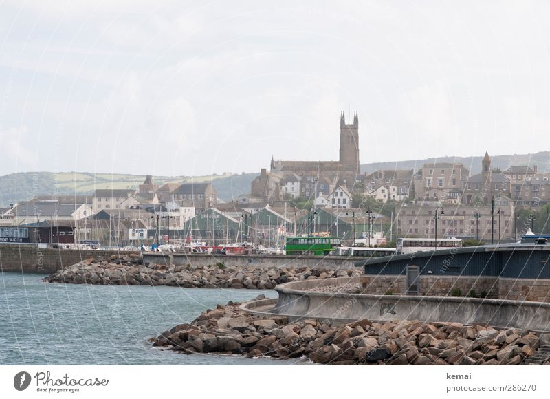 penzance Coast Ocean England Cornwall Small Town Port City Outskirts House (Residential Structure) Church Harbour Manmade structures Building Wall (barrier)