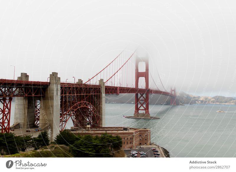 View to bridge in foggy day Bridge Golden Gate Bridge Fog Bay Tower Architecture Landmark Structures and shapes Historic USA California San Francisco Ocean