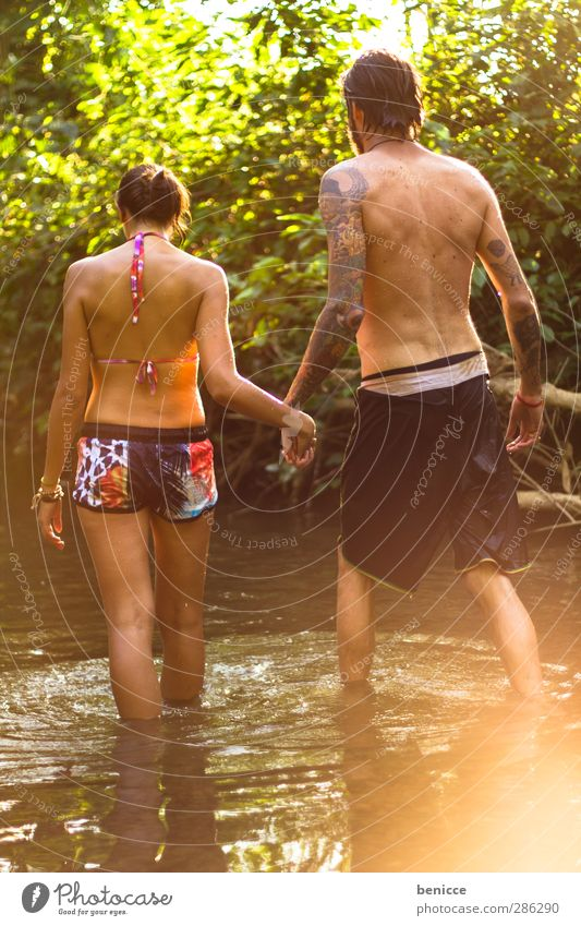 two in water Couple In pairs Lovers Infatuation Summer Spring Nature Lake Brook River Water Swimming & Bathing Hold hands To hold on Hand Together Attachment 2