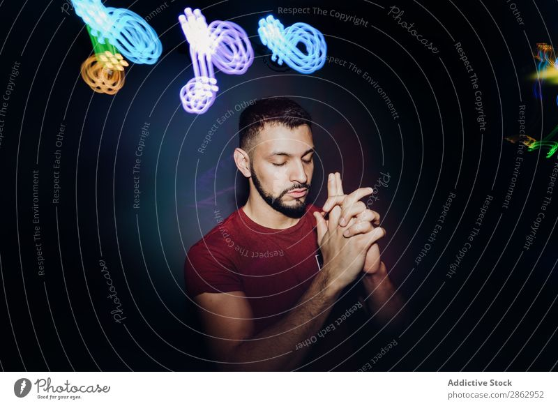 Handsome bearded man dancing in spotlight Man Dance Stage lighting Energy zumba Bright handsome Performance Posture Cool (slang) Club Self-confident