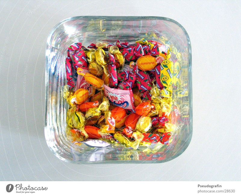 candy jar Candy Nutrition Paper Glass Sweet Colour photo Multicoloured Interior shot Detail Bird's-eye view