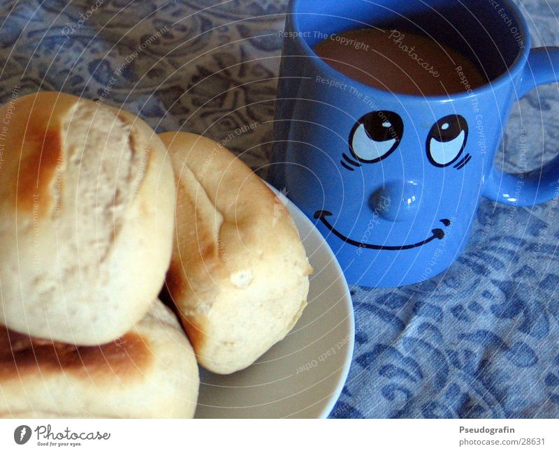 Breakfast :o) Food Roll Nutrition Coffee Plate Cup Face Eating Laughter Blue Colour photo Multicoloured Interior shot Deserted Morning Bird's-eye view Looking