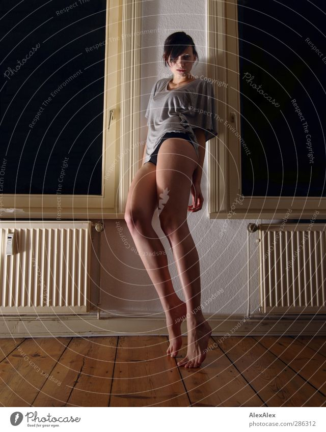 Youth (Young adults) Beautiful White Adults Window Young woman Eroticism Wood Head Legs 18 - 30 years Feet Brown Power Large Authentic