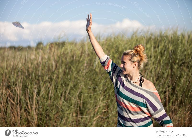 Human being Woman Sky Nature Youth (Young adults) Summer Plant Animal Clouds Landscape Adults Young woman Meadow Life Feminine Grass