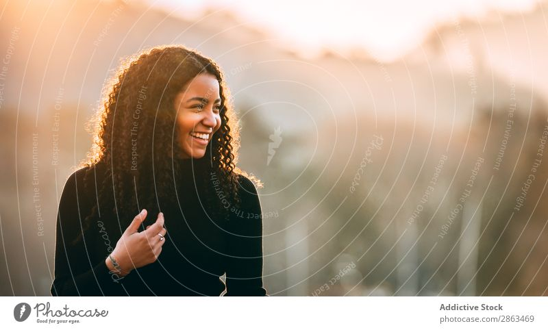 Smiling black woman with curly hair Woman African-American Curly Hair Attractive Black Happy Youth (Young adults) Lady Lifestyle Hip & trendy Fashion Beautiful