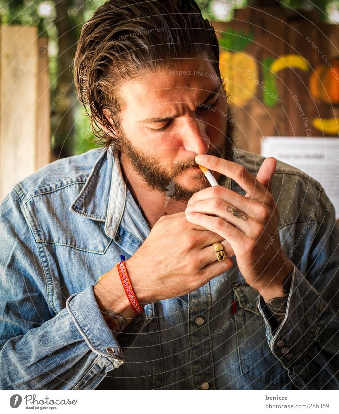 Human being Man Youth (Young adults) Beautiful Hand Relaxation Young man Healthy Sit Fingers Smoking Smoke Tattoo Facial hair Tobacco products Café