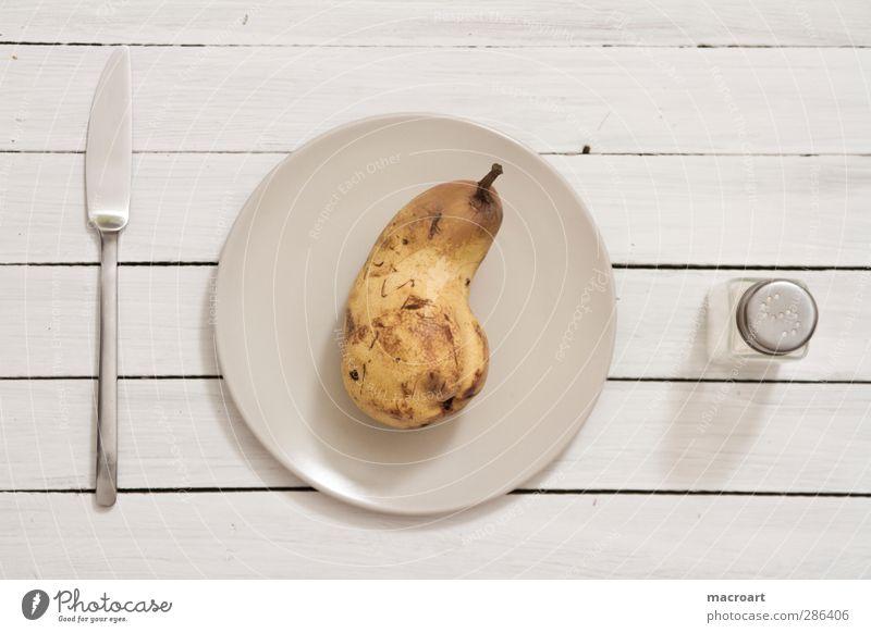 diet Food Fruit Pear Cooking salt Salt caster Nutrition Vegetarian diet Diet Fasting Crockery Plate Knives Table Feeding White Hospitality Appetite Thirst