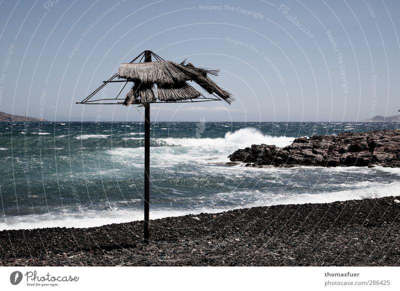 Blue Vacation & Travel Water Summer Sun Ocean Beach Far-off places Coast Sand Horizon Weather Wind Waves Power Wild