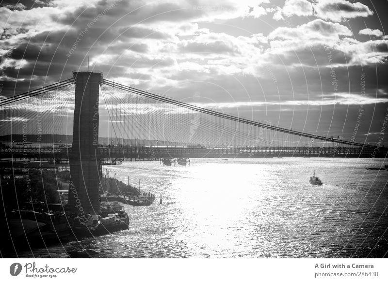 Old Illuminate Bridge Firm Long Landmark Tourist Attraction American Flag New York City Port City Outskirts Stability Solid Brooklyn Bridge