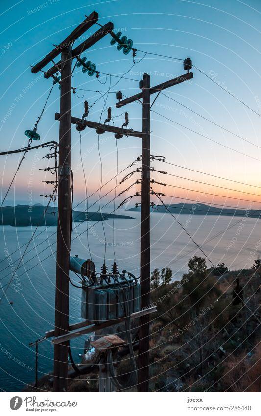 Sky Blue Vacation & Travel Old Summer Landscape Black Yellow Horizon Orange Energy industry Island Idyll Telecommunications Change Cable
