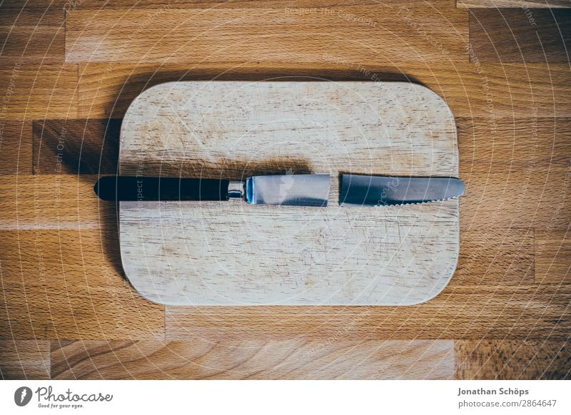 broken knife on cutting board Knives Wood Broken Funny Esthetic Divide Destruction Chopping board Kitchen Table Repair Divorce Copy Space Cooking Average