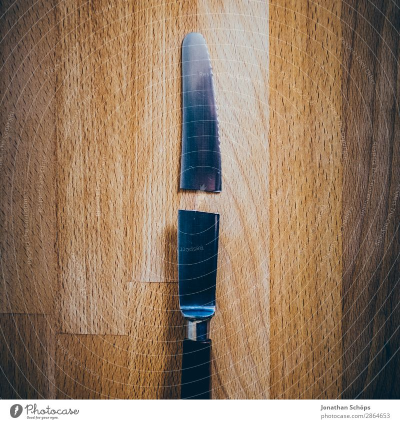 broken knife on cutting board Knives Wood Broken Funny Esthetic Divide Destruction Chopping board Kitchen Table Repair Divorce Copy Space Average Sharp thing