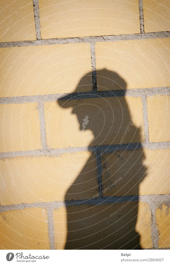 Shadow of a woman with hat on a wall Design Decoration Wallpaper Woman Adults Rock Building Architecture Hat Stone Concrete Old Bright Natural Strong Brown