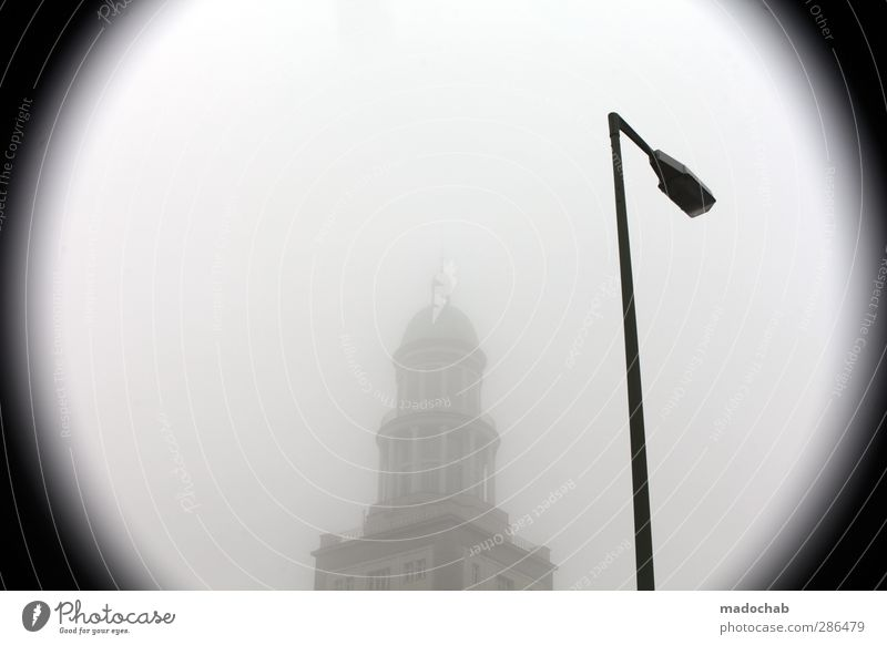 City Loneliness House (Residential Structure) Cold Building Fog Perspective Lantern Capital city Pride Vignetting