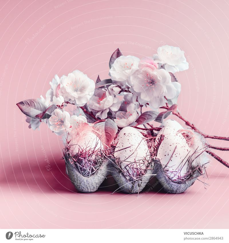 Easter eggs and spring blossom Style Design Decoration Nature Plant Leaf Blossom Pink Tradition Background picture Symbols and metaphors Colour photo