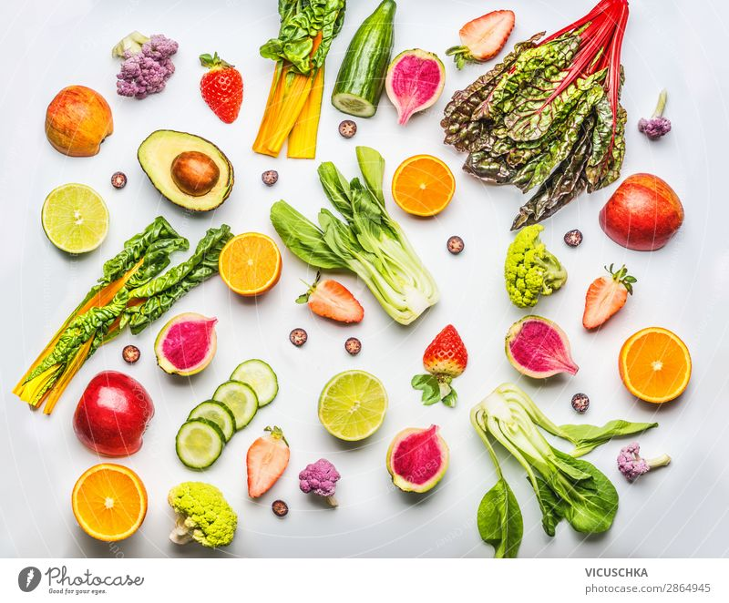 Various fruits, berries and vegetables Food Vegetable Lettuce Salad Fruit Apple Orange Nutrition Organic produce Vegetarian diet Diet Shopping Style Design