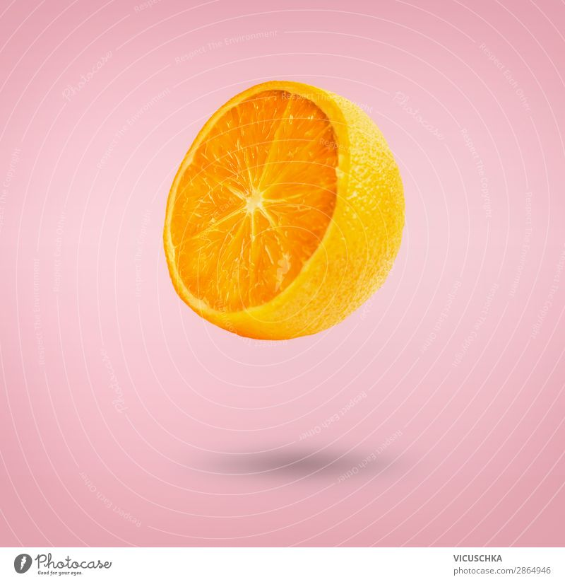 Flying Orange Food Fruit Nutrition Juice Shopping Style Design Summer Yellow Pink Hover Vitamin Half Floating Vitamin C Colour photo Close-up