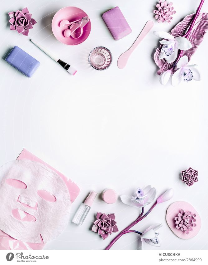 Modern skin care cosmetics with face mask Shopping Style Design Beautiful Skin Face Cosmetics Cream Healthy Wellness Spa Living or residing Feminine Nature