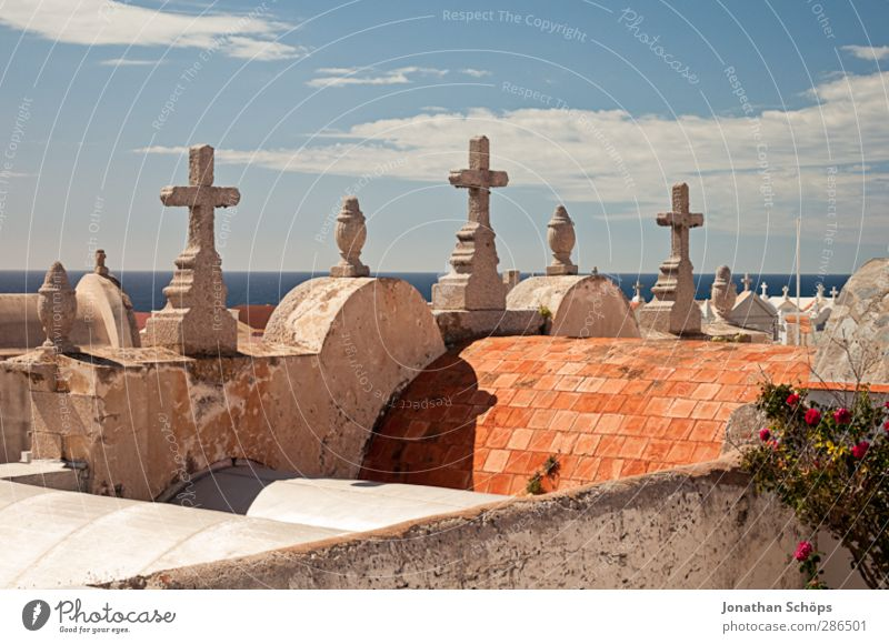 Cemetery of Bonifacio Architecture Pain Death Sky Crucifix Christian cross Roof Funeral Hope Horizon Transience Eternity Stone Warmth Mediterranean sea Corsica