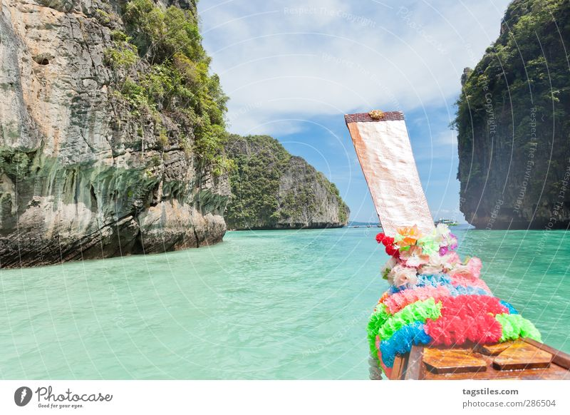 Setting sail - Thailand Krabi Ko Phi Phi Le Phi Phi island Longboat Watercraft Andaman Sea Vacation & Travel Travel photography Idyll Flower Freedom Card