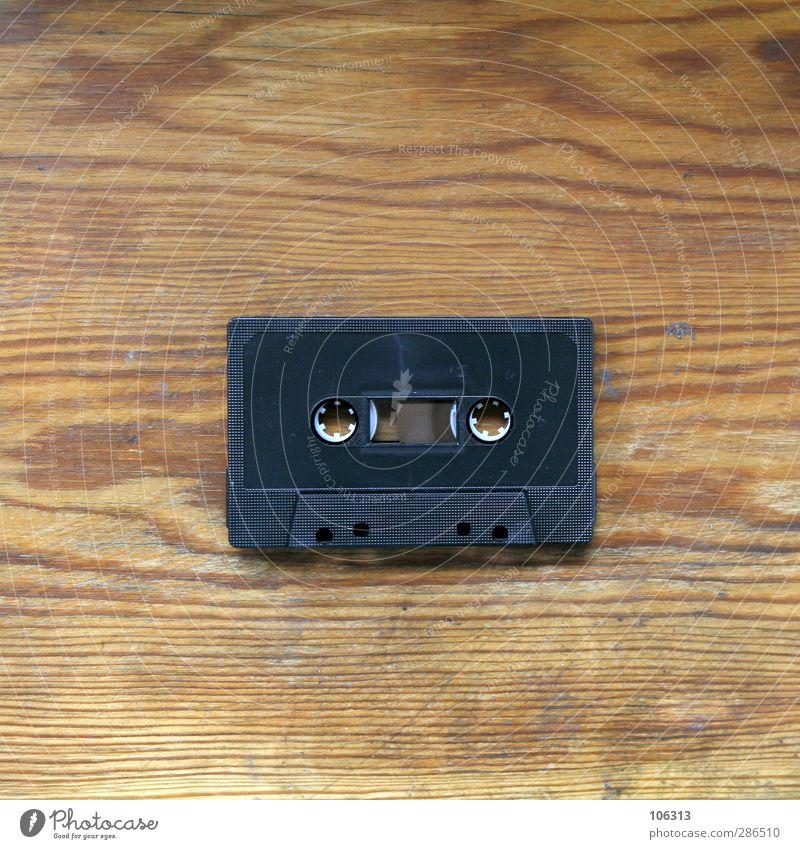 Black Star Radio (device) Happy Analog Tape cassette Music Media Occur Retro Vintage Old Audio tape Colour photo Interior shot Deserted