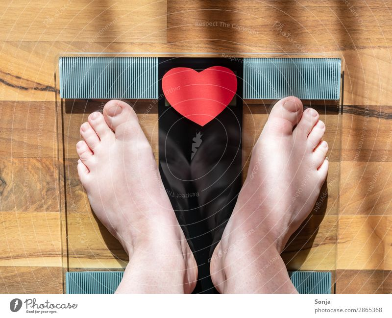 Naked female feet on a personal scale Lifestyle Healthy Healthy Eating Overweight Scale Feminine Woman Adults Feet 1 Human being 30 - 45 years Diet Stand Fat