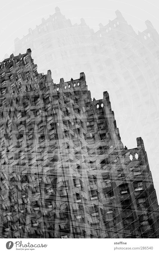 Gotham City St. Louis USA Town Downtown High-rise Wall (barrier) Wall (building) Facade Window Many Double exposure Black & white photo Exterior shot