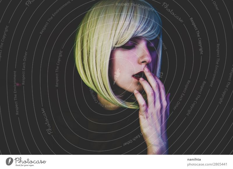 Artistic portrait of a sensual woman Style Hair and hairstyles Face Make-up Senses Night life Flirt Human being Feminine Woman Adults Blonde Wig Dark Eroticism