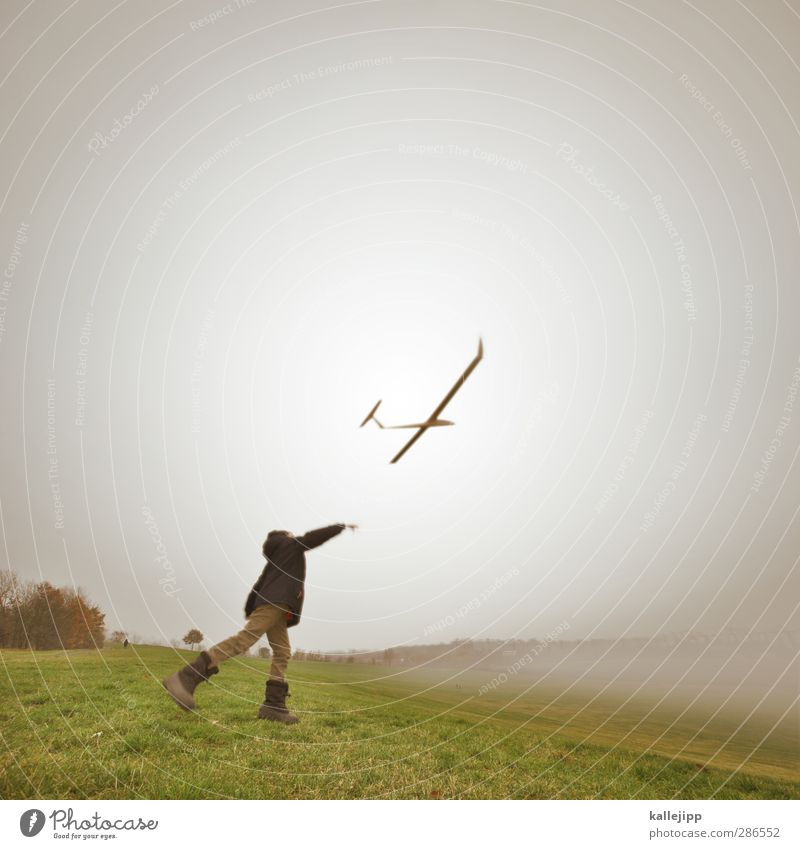 Human being Child Sky Nature Landscape Environment Meadow Autumn Life Playing Boy (child) Air Flying Infancy Leisure and hobbies Fog