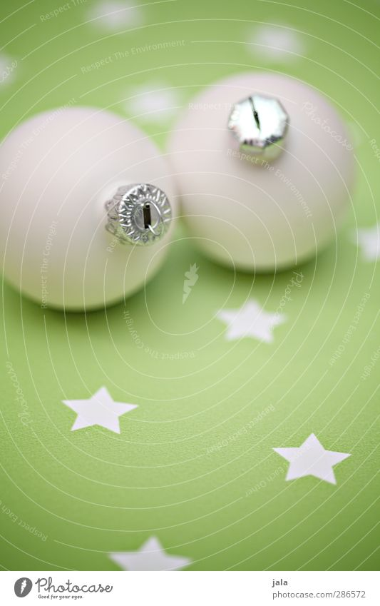 every year... Feasts & Celebrations Christmas & Advent Decoration Kitsch Odds and ends Esthetic Green White Glitter Ball Star (Symbol) Colour photo