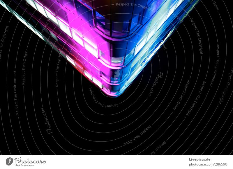 City North Shows Town Deserted High-rise Wall (barrier) Wall (building) Facade Glass Metal Plastic Illuminate Blue Violet Pink Black White Uniqueness