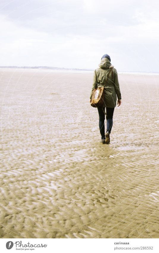 Human being Woman Sky Nature Youth (Young adults) Vacation & Travel Water Ocean Beach Clouds Calm Landscape Adults Far-off places Autumn Feminine