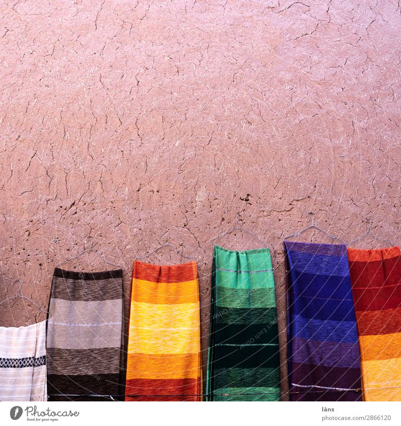 SCARVES Morocco Africa Wall (barrier) Wall (building) Cloth Scarf Rag Uniqueness Shopping Fashion Multicoloured Striped Sell clay plaster Colour photo