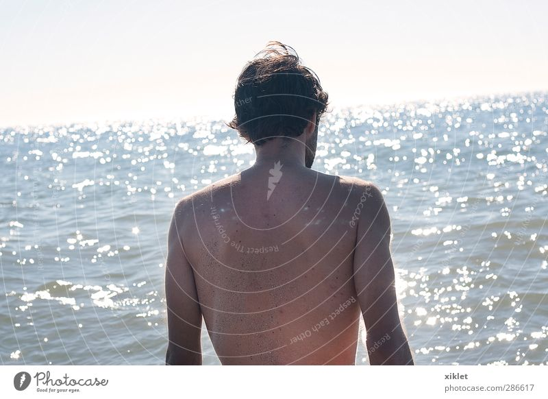sea and sun Human being Youth (Young adults) Water Sun Ocean Beach Relaxation Naked Life Eroticism Playing Young man Movement Swimming & Bathing Natural Waves