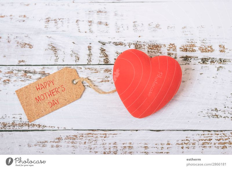 happy Mother's Day Joy Leisure and hobbies Decoration Table Feasts & Celebrations Adults Family & Relations Wood Heart Love Friendliness Happy Red Emotions