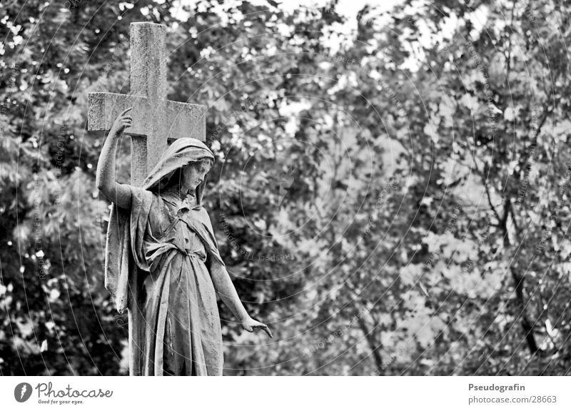 graveyard Sculpture Park Historic Sadness Grief Death Statue Gesture Black & white photo Exterior shot Downward