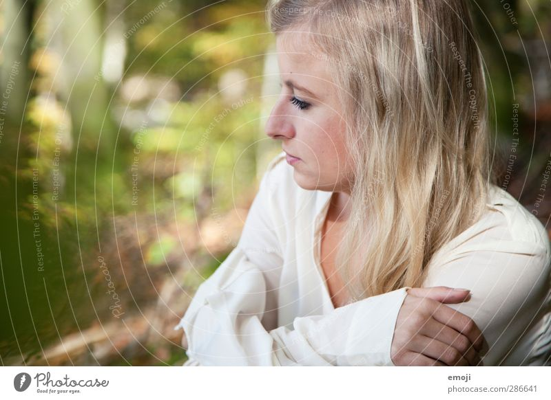bright Feminine Young woman Youth (Young adults) 1 Human being 18 - 30 years Adults Blonde Natural Green Colour photo Exterior shot Day Shallow depth of field