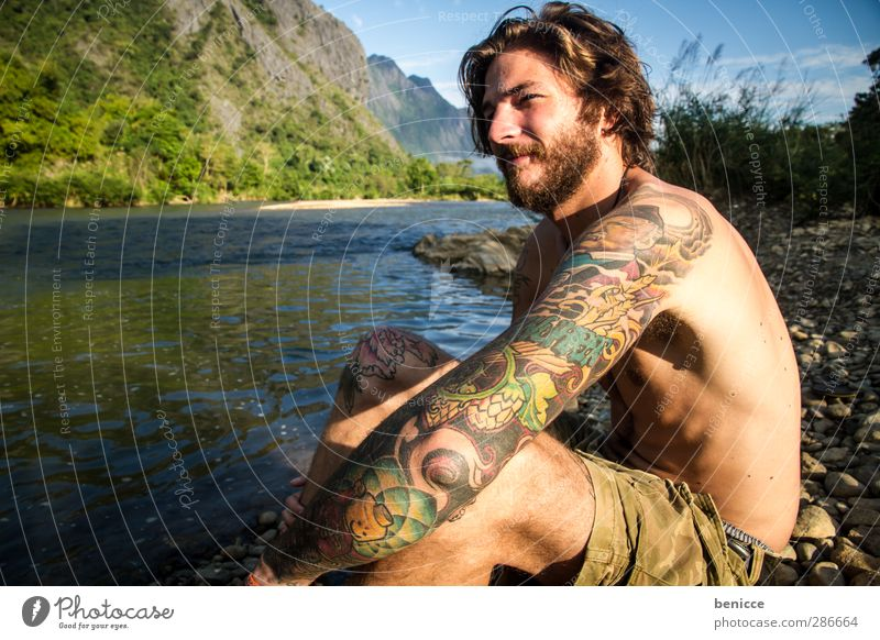 6 o'clock in the morning in Laos Man Human being Youth (Young adults) Young man Nature Masculine Exterior shot Lake River Close-up Facial hair Naked Upper body