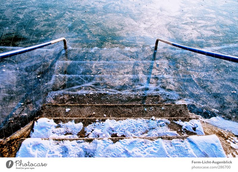 Stairs to the ice Winter Nature Landscape Water Climate Beautiful weather Ice Frost Snow Pond Lake Swimming & Bathing Freeze Glittering Sports Cold Cuddly