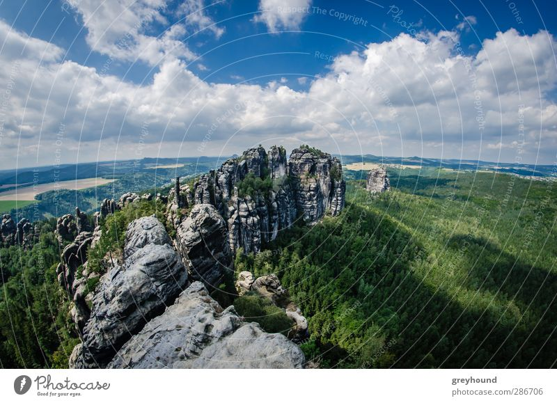 Nature Blue Green Summer Tree Landscape Clouds Mountain Environment Rock Beautiful weather Peak Climbing Tourist Attraction Mountaineering Wide angle