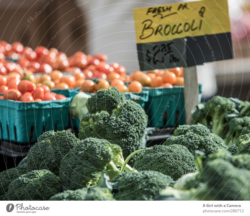 fresh and healthy for sale Food Vegetable Broccoli Tomato Nutrition Organic produce Vegetarian diet Diet Fresh Healthy Round Juicy Green Red Markets Sell