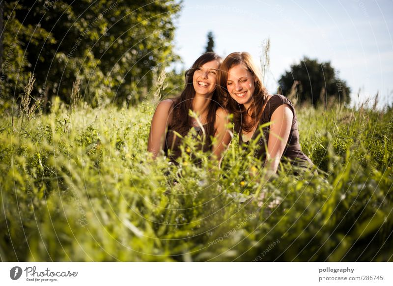 Human being Woman Nature Youth (Young adults) Plant Joy Landscape Adults Young woman Meadow Life Feminine Emotions Grass Laughter Happy